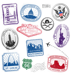 us monuments grunge stamps vector image