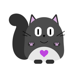 valentines day card cute cartoon fat gray cat vector image