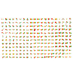 very big collection of flags of the guinea vector image