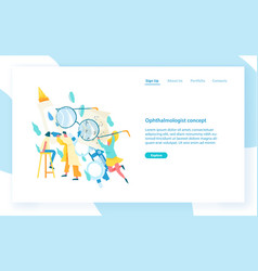 website template with ophthalmologist examining vector image