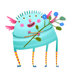Weird monster holding flowers happy congratulating vector