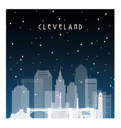 Winter night in cleveland night city in flat vector