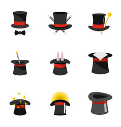 Wizard icons set flat style vector
