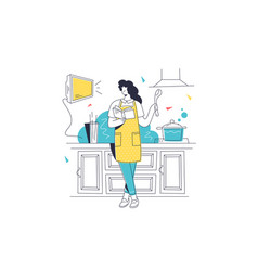 Woman cooking meal on kitchen vector