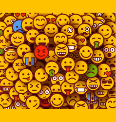 Yellow smiles background emoji texture vector