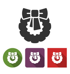 christmas wreath icon in different variants vector image