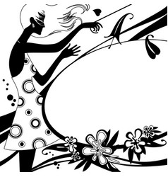fashion template page with silhouette of girl in vector image vector image