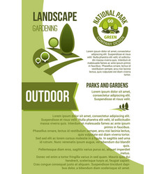 gardens and parks landscape design poster vector image vector image