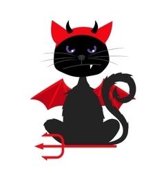 Halloween cat with devil bat wings vector image