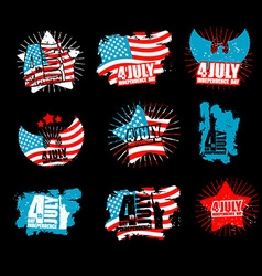 Independence Day set sign in grunge style Star and vector image