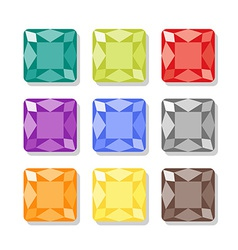 Cartoon square gems icons set vector image vector image