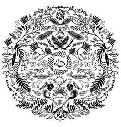 Decorative floral circle vector