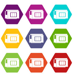 Inkjet printer cartridge icon set color hexahedron vector