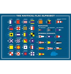 International maritime signal flags - sea alphabet vector image