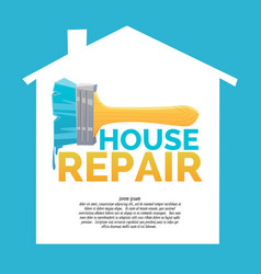 Logo home repair and realistic brush on white vector