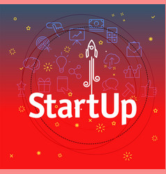 startup concept different thin line icons included vector image vector image