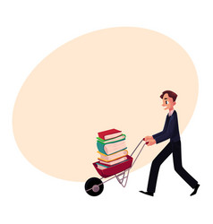 Young man businessman student librarian pushing vector