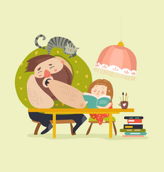 girl with dad doing homework vector image