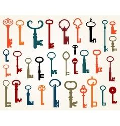 Set of old keys vector image