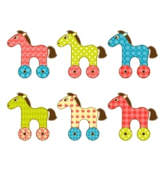 Set of patchwork horses 1 vector image vector image