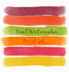 set of real watercolor brush with warm colors vector image