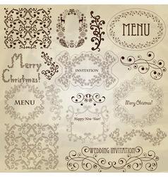 set vintage design elements vector image vector image