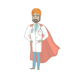 Young indian doctor dressed as a superhero vector