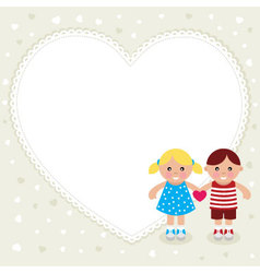 kids with heart shape frame vector image