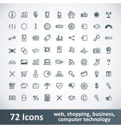 Large Icons Set 72 Icons vector image vector image