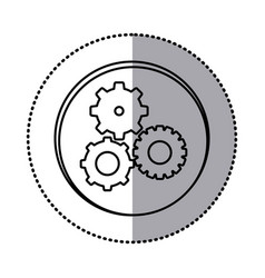 monochrome contour with circle sticker of pinions vector image