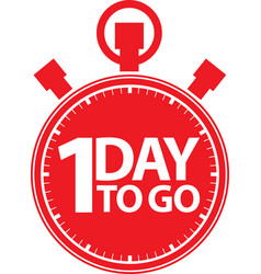 1 day to go stopwatch icon vector