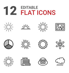 12 sunset icons vector