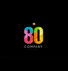 80 number grunge color rainbow numeral digit logo vector