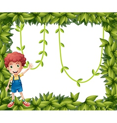 A boy showing leafy frame with vine plants vector