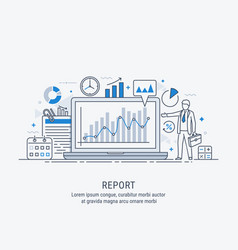 a manager reporting marketing the show graphs vector image