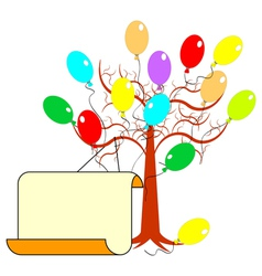 A tree with many colorful balloons vector