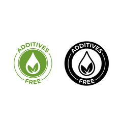 Additives free no added leaf and drop icon vector