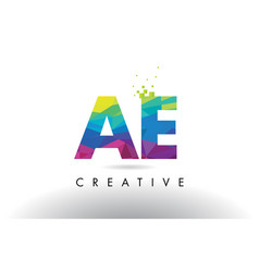 Ae a d colorful letter origami triangles design vector