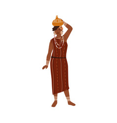African tribal woman carrying vase or pitcher vector