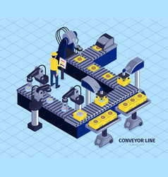 automated conveyor line composition vector image