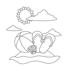 beach cartoon in black and white vector image