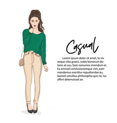 beautiful young woman in sweater and jeans with vector image