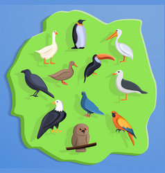 bird land concept background cartoon style vector image