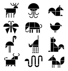 black and white animals pictograms vector image