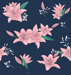 blossom floral seamless pattern lily flowers vector image