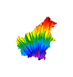 Borneo - map is designed rainbow abstract vector