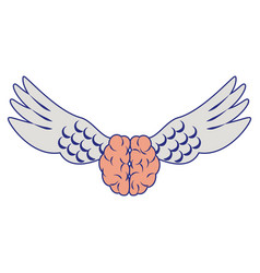 Brain with wings isolated symbol blue lines vector