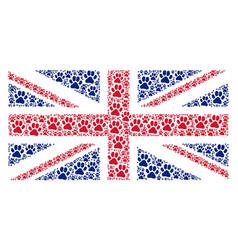 British flag pattern of paw footprint items vector