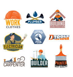 Builder electrician repair tool icons vector