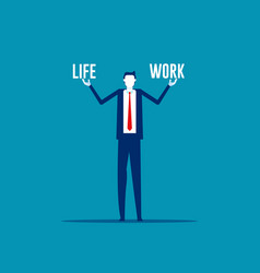 Business man holding life and work balance vector
